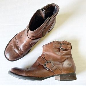 Born Brown Leather Buckle Ankle Booties EUC 10